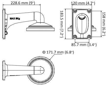 Настенный кронштейн для скоростных поворотных камер Hikvision DS-1605ZJ