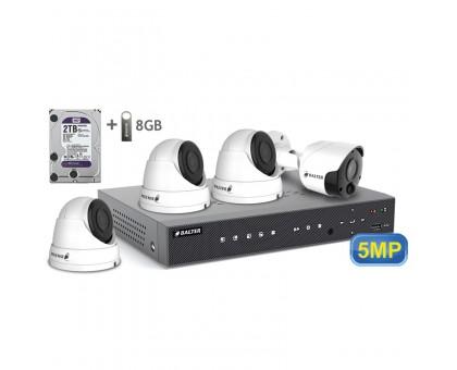 5MP АHD комплект для видеонаблюдения BALTER KIT 5MP 3Dome 1Bullet
