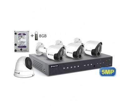 5MP АHD комплект для видеонаблюдения BALTER KIT 5MP 1Dome 3Bullet