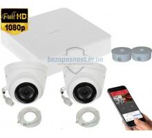 2MP IP комплект для видеонаблюдения Hikvision Kit 2MP 2 Dome Out lite