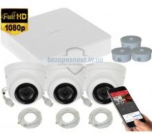 2MP IP комплект для видеонаблюдения Hikvision Kit 2MP 3 Dome Out lite